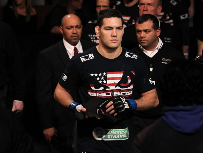 CHICAGO, IL - JANUARY 28:  Chris Weidman enters the arena before his bout against Demian Maia during the UFC on FOX event at United Center on January 28, 2012 in Chicago, Illinois.  (Photo by Nick Laham/Zuffa LLC/Zuffa LLC via Getty Images) *** Local Capt