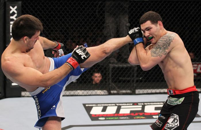 CHICAGO, IL - JANUARY 28:  (L-R) Demian Maia kicks Chris Weidman during the UFC on FOX event at United Center on January 28, 2012 in Chicago, Illinois.  (Photo by Nick Laham/Zuffa LLC/Zuffa LLC via Getty Images) *** Local Caption *** Chris Weidman; Demian