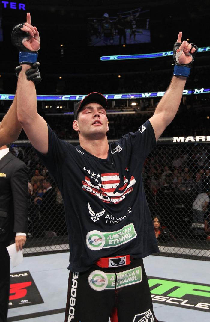 CHICAGO, IL - JANUARY 28:  Chris Weidman reacts after defeating Demian Maia during the UFC on FOX event at United Center on January 28, 2012 in Chicago, Illinois.  (Photo by Nick Laham/Zuffa LLC/Zuffa LLC via Getty Images) *** Local Caption *** Chris Weid