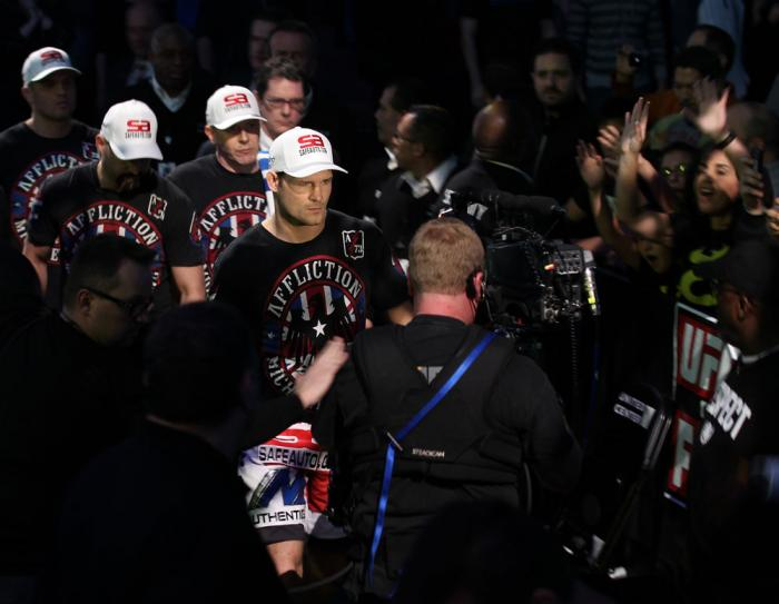 CHICAGO, IL - JANUARY 28:  Michael Bisping enters the arena before his bout against Chael Sonnen during the UFC on FOX event at United Center on January 28, 2012 in Chicago, Illinois.  (Photo by Nick Laham/Zuffa LLC/Zuffa LLC via Getty Images) *** Local C