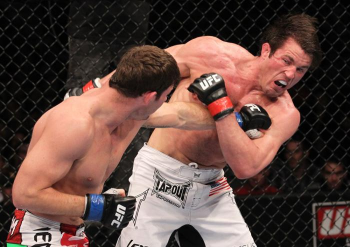CHICAGO, IL - JANUARY 28:  (L-R) Michael Bisping punches Chael Sonnen during the UFC on FOX event at United Center on January 28, 2012 in Chicago, Illinois.  (Photo by Nick Laham/Zuffa LLC/Zuffa LLC via Getty Images) *** Local Caption *** Chael Sonnen; Mi