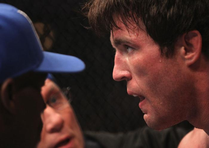 CHICAGO, IL - JANUARY 28:  Chael Sonnen sits in his corner between rounds during his bout against Michael Bisping during the UFC on FOX event at United Center on January 28, 2012 in Chicago, Illinois.  (Photo by Nick Laham/Zuffa LLC/Zuffa LLC via Getty Im