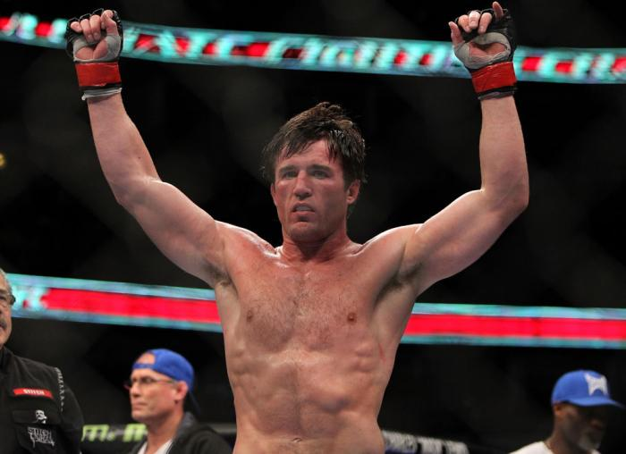 CHICAGO, IL - JANUARY 28:  Chael Sonnen reacts after defeating Michael Bisping during the UFC on FOX event at United Center on January 28, 2012 in Chicago, Illinois.  (Photo by Josh Hedges/Zuffa LLC/Zuffa LLC via Getty Images) *** Local Caption *** Chael