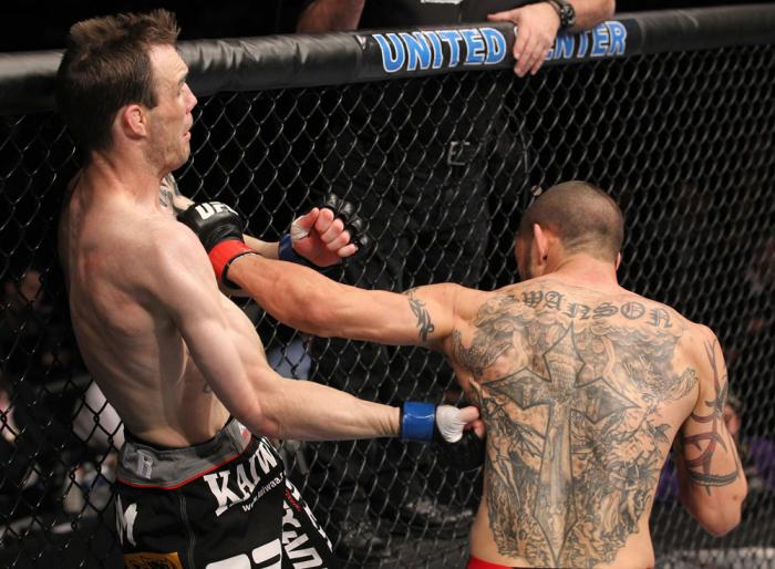 CHICAGO, IL - JANUARY 28:  (L-R) George Roop and Cub Swanson trade punches during the UFC on FOX event at United Center on January 28, 2012 in Chicago, Illinois.  (Photo by Nick Laham/Zuffa LLC/Zuffa LLC via Getty Images) *** Local Caption *** Cub Swanson
