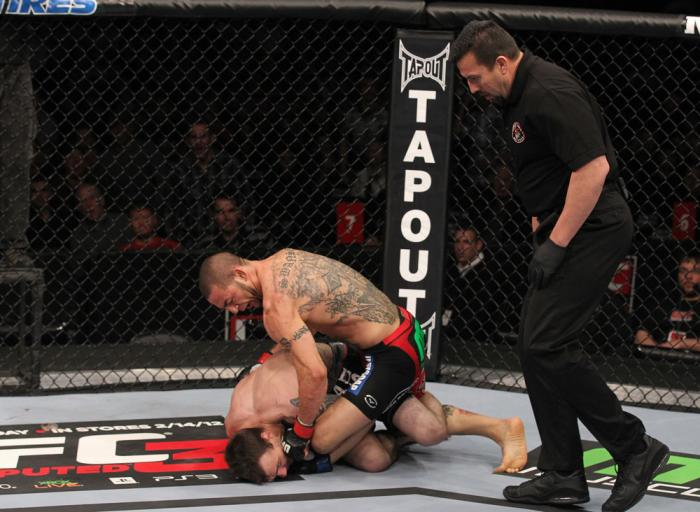 CHICAGO, IL - JANUARY 28:  (R-L) Cub Swanson defeats George Roop by TKO due to punches during the UFC on FOX event at United Center on January 28, 2012 in Chicago, Illinois.  (Photo by Nick Laham/Zuffa LLC/Zuffa LLC via Getty Images) *** Local Caption ***