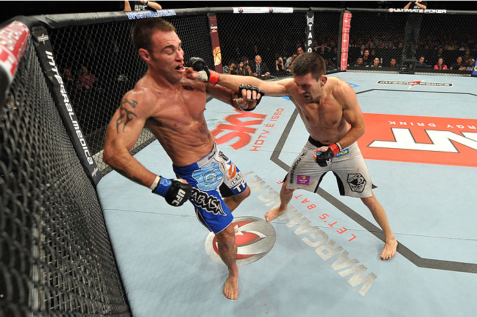 BARUERI, BRAZIL - OCTOBER 9:  (R-L) Demian Maia punches Jake Shields in their welterweight bout during the UFC Fight Night event at the Ginasio Jose Correa on October 9, 2013 in Barueri, Sao Paulo, Brazil. (Photo by Jeff Bottari/Zuffa LLC/Zuffa LLC via Ge