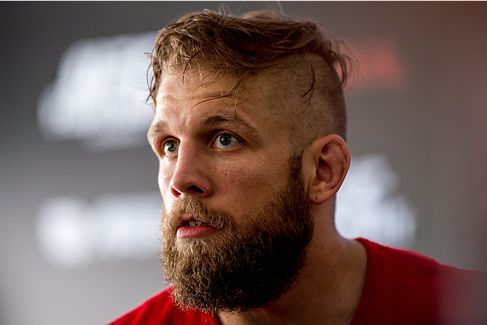 GOIANIA, BRAZIL - MAY 28: Featherweight Nik Lentz of the United States speaks during an open training session for media at Flex Alphaville Gym on May 28, 2015 in Goiania, Brazil. (Photo by Buda Mendes/Zuffa LLC/Zuffa LLC via Getty Images)