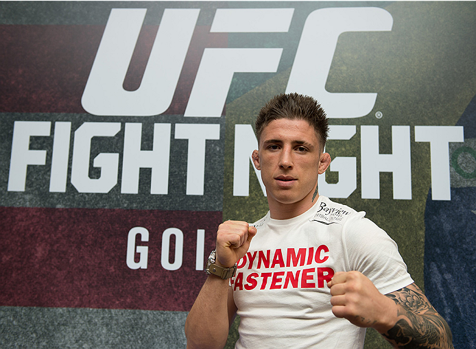 GOIANIA, BRAZIL - MAY 28: Lightweight Fighter Norman Parke poses for a photo during the Ultimate Media Day at the K Hotel on May 28, 2015 in Goiania, Brazil.(Photo by Buda Mendes/Zuffa LLC/Zuffa LLC via Getty Images)