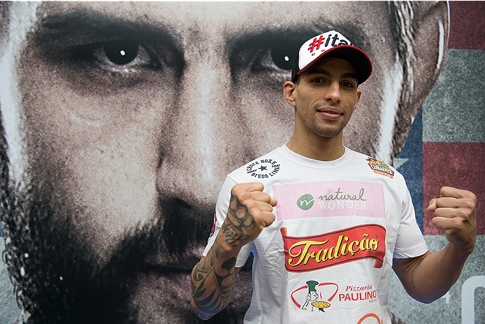 GOIANIA, BRAZIL - MAY 28:  Featherweight fighter Lucas Martins poses for a photo during the Ultimate Media Day at the K Hotel on May 28, 2015 in Goiania, Brazil.(Photo by Buda Mendes/Zuffa LLC/Zuffa LLC via Getty Images)