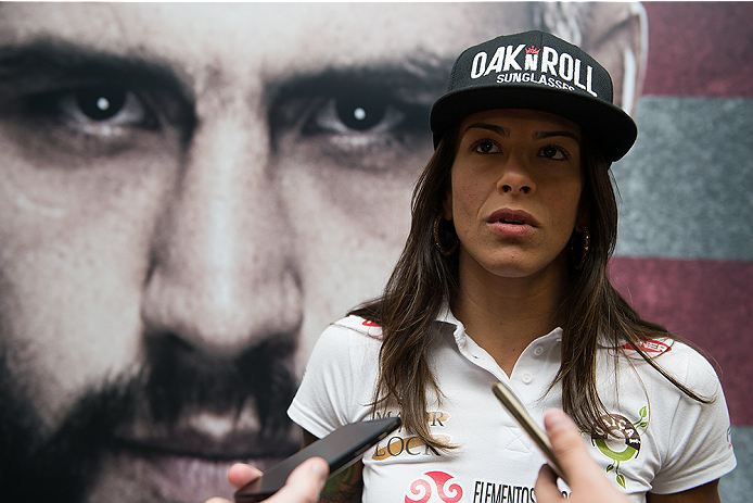 GOIANIA, BRAZIL - MAY 28: Strawweight fighter Juliana Lima speaks with the media during the Ultimate Media Day at the K Hotel on May 28, 2015 in Goiania, Brazil.(Photo by Buda Mendes/Zuffa LLC/Zuffa LLC via Getty Images)