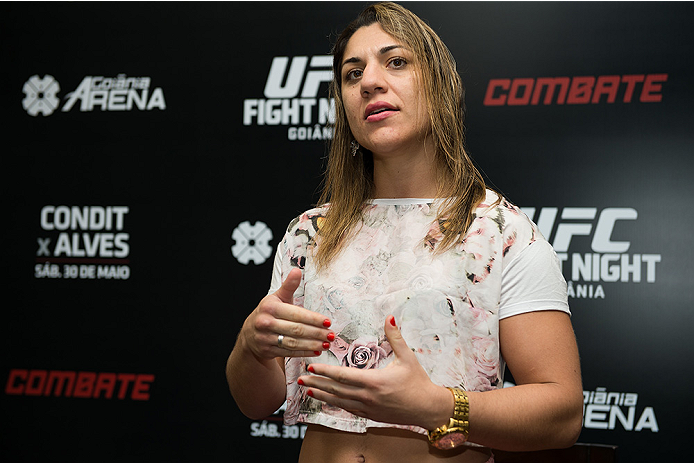 GOIANIA, BRAZIL - MAY 28: Bantamweight Fighter Bete Correia speaks with the media during the Ultimate Media Day at the K Hotel on May 28, 2015 in Goiania, Brazil.(Photo by Buda Mendes/Zuffa LLC/Zuffa LLC via Getty Images)