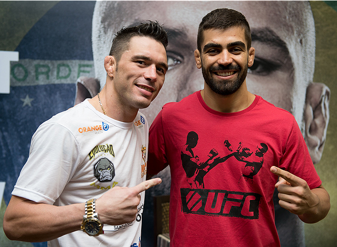 GOIANIA, BRAZIL - MAY 28:  Featherweight fighter Rony Jason (L) and Welterweight fighter Elizeu 'Capoeira' pose for a photo  during the Ultimate Media Day at the K Hotel on May 28, 2015 in Goiania, Brazil.(Photo by Buda Mendes/Zuffa LLC/Zuffa LLC via Gett