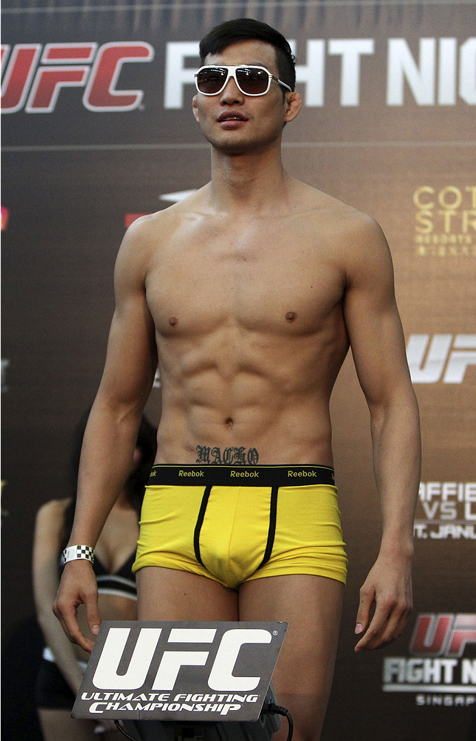 SINGAPORE - JANUARY 03: Lim Hyun Gyu during the UFC Fight Night Singapore Weigh-in at the Shoppes at Marina Bay Sands on January 3, 2014 in Singapore. (Photo by Mitch Viquez/Zuffa LLC/Zuffa LLC via Getty Images)