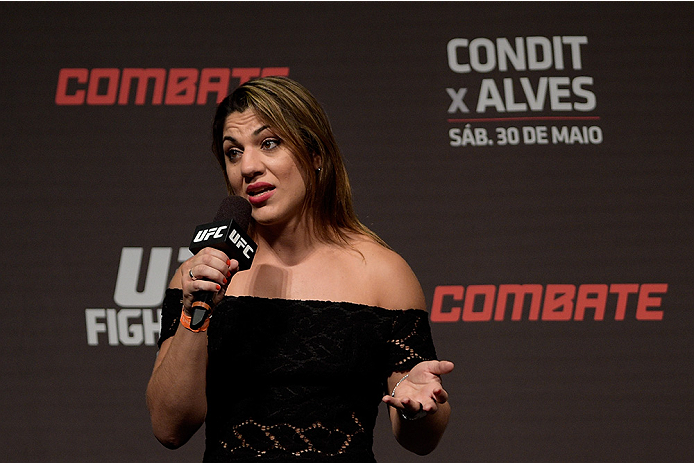 GOIANIA, BRAZIL - MAY 29:  Women's bantamweight belt Bethe Correia of Brazil interacts with fans during a Q&A session before the UFC Fight Night weigh-in at Goiania Arena on May 29, 2015 in Goiania, Brazil.  (Photo by Buda Mendes/Zuffa LLC/Zuffa LLC via G