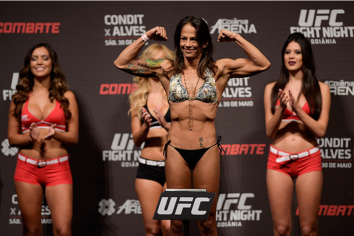 GOIANIA, BRAZIL - MAY 29:  Strawweight fighter Juliana Lima of Brazil weighs in during the UFC Fight Night Weigh-ins at Goiania Arena on May 29, 2015 in Goiania, Brazil.  (Photo by Buda Mendes/Zuffa LLC/Zuffa LLC via Getty Images)