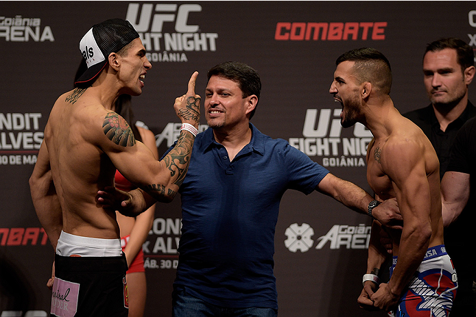 GOIANIA, BRAZIL - MAY 29:  Featherweight fighters Lucas Martins (L) of Brazil and Mirsad Bektic of Bosnia face off during the UFC Fight Night Weigh-ins at Goiania Arena on May 29, 2015 in Goiania, Brazil.  (Photo by Buda Mendes/Zuffa LLC/Zuffa LLC via Get
