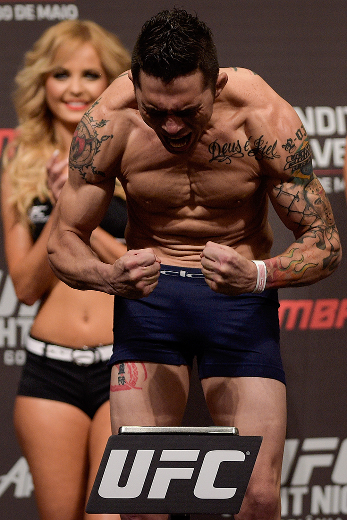 GOIANIA, BRAZIL - MAY 29:  Featherweight fighter Rony Jason of Brazil weighs in during the UFC Fight Night Weigh-ins at Goiania Arena on May 29, 2015 in Goiania, Brazil.  (Photo by Buda Mendes/Zuffa LLC/Zuffa LLC via Getty Images)