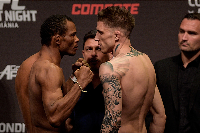 GOIANIA, BRAZIL - MAY 29: Lightweight fighters Francisco Massaranduba of Brazil (L) and Norman Parke of Northern Ireland face off during the UFC Fight Night Weigh-ins at Goiania Arena on May 29, 2015 in Goiania, Brazil. (Photo by Buda Mendes/Zuffa LLC/Zuf