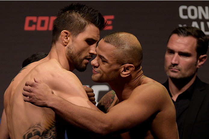 GOIANIA, BRAZIL - MAY 29:  Welterweight fighters Carlos Condit (L) of the United States and Thiago Alves of Brazil face off during the UFC Fight Night Weigh-ins at Goiania Arena on May 29, 2015 in Goiania, Brazil.  (Photo by Buda Mendes/Zuffa LLC/Zuffa LL