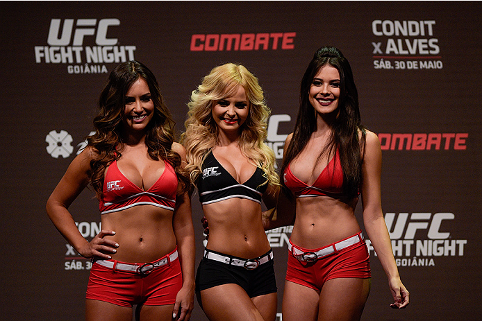 GOIANIA, BRAZIL - MAY 29: Octagon girls Luciana Andrade, Jhenny Andrade, Camila  Oliveira pose for photographers after the UFC Fight Night Weigh-ins at Goiania Arena on May 29, 2015 in Goiania, Brazil. (Photo by Buda Mendes/Zuffa LLC/Zuffa LLC via Getty I