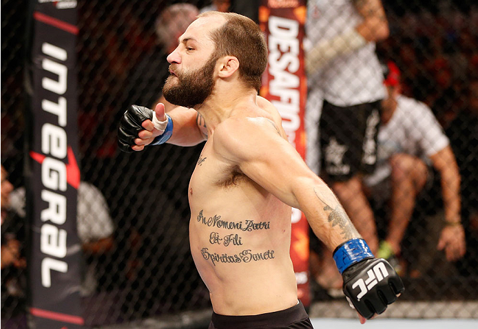 GOIANIA, BRAZIL - NOVEMBER 09: Sam Sicilia reacts after knocking out Godofredo ''Pepey'' Castro in their featherweight bout during the UFC event at Arena Goiania on November 9, 2013 in Goiania, Brazil. (Photo by Josh Hedges/Zuffa LLC/Zuffa LLC via Getty I