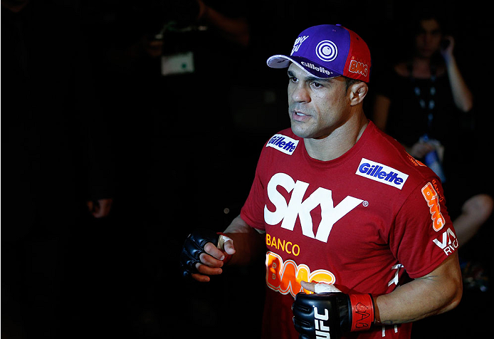 GOIANIA, BRAZIL - NOVEMBER 09: Vitor Belfort enters the arena before his light heavyweight bout against Dan Henderson during the UFC event at Arena Goiania on November 9, 2013 in Goiania, Brazil. (Photo by Josh Hedges/Zuffa LLC/Zuffa LLC via Getty Images)