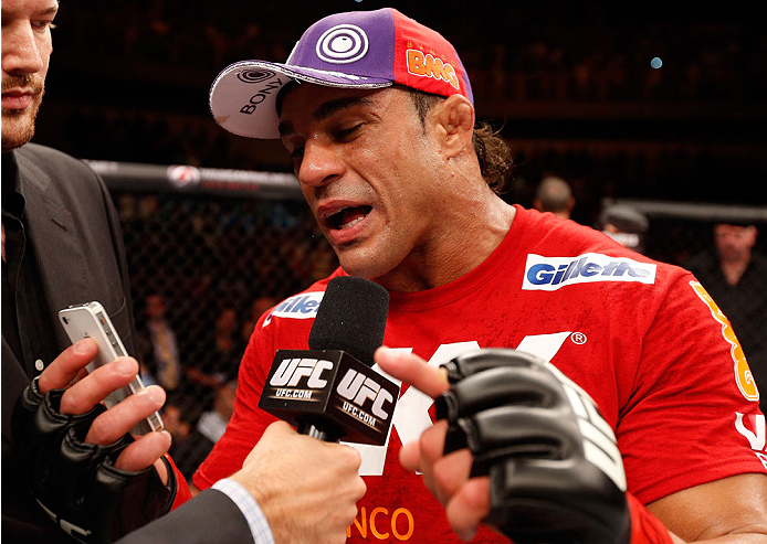 GOIANIA, BRAZIL - NOVEMBER 09: Vitor Belfort is interviewed after knocking out Dan Henderson in their light heavyweight bout during the UFC event at Arena Goiania on November 9, 2013 in Goiania, Brazil. (Photo by Josh Hedges/Zuffa LLC/Zuffa LLC via Getty