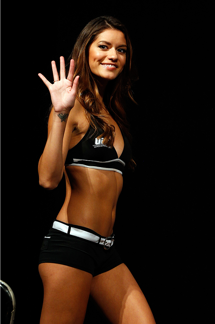 AUSTIN, TX - NOVEMBER 21:  UFC Octagon Girl Vanessa Hanson stands on stage during the UFC weigh-in at The Frank Erwin Center on November 21, 2014 in Austin, Texas.  (Photo by Josh Hedges/Zuffa LLC/Zuffa LLC via Getty Images)