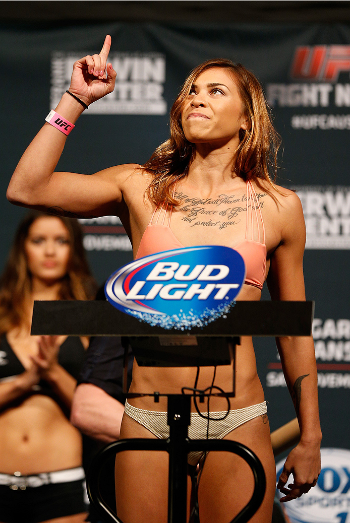 AUSTIN, TX - NOVEMBER 21:  Kailin Curran weighs in during the UFC weigh-in at The Frank Erwin Center on November 21, 2014 in Austin, Texas.  (Photo by Josh Hedges/Zuffa LLC/Zuffa LLC via Getty Images)