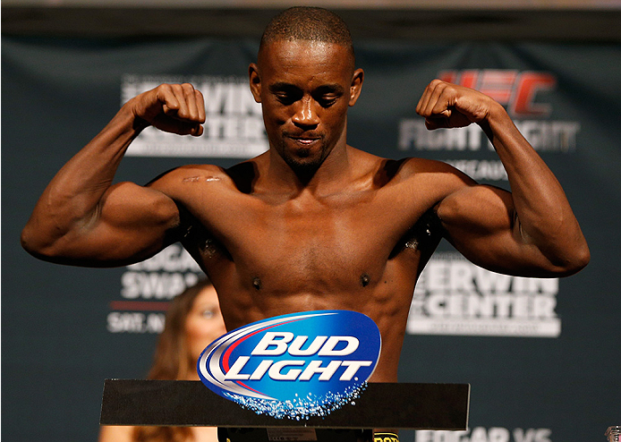 AUSTIN, TX - NOVEMBER 21:  Yves Edwards of the Bahamas weighs in during the UFC weigh-in at The Frank Erwin Center on November 21, 2014 in Austin, Texas.  (Photo by Josh Hedges/Zuffa LLC/Zuffa LLC via Getty Images)