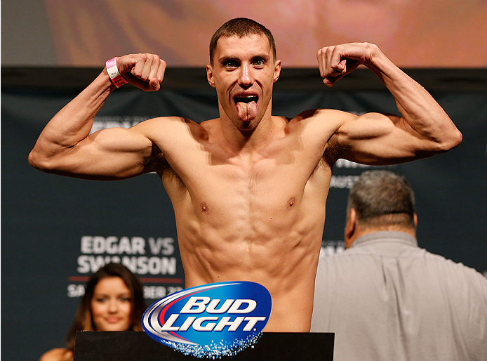 AUSTIN, TX - NOVEMBER 21:  James Vick weighs in during the UFC weigh-in at The Frank Erwin Center on November 21, 2014 in Austin, Texas.  (Photo by Josh Hedges/Zuffa LLC/Zuffa LLC via Getty Images)