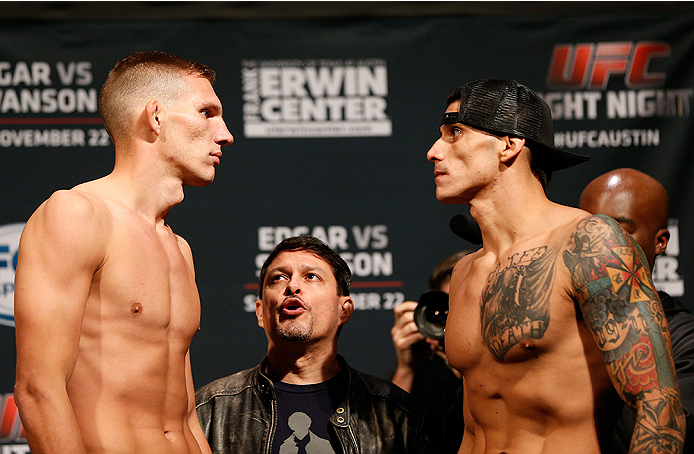 AUSTIN, TX - NOVEMBER 21:  (L-R) Opponents Luke Barnatt of England and Roger Narvaez face off during the UFC weigh-in at The Frank Erwin Center on November 21, 2014 in Austin, Texas.  (Photo by Josh Hedges/Zuffa LLC/Zuffa LLC via Getty Images)