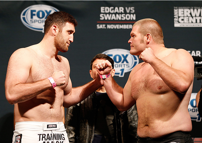 AUSTIN, TX - NOVEMBER 21:  (L-R) Opponents Ruslan Magomedov of Russia and Josh Copeland face off during the UFC weigh-in at The Frank Erwin Center on November 21, 2014 in Austin, Texas.  (Photo by Josh Hedges/Zuffa LLC/Zuffa LLC via Getty Images)