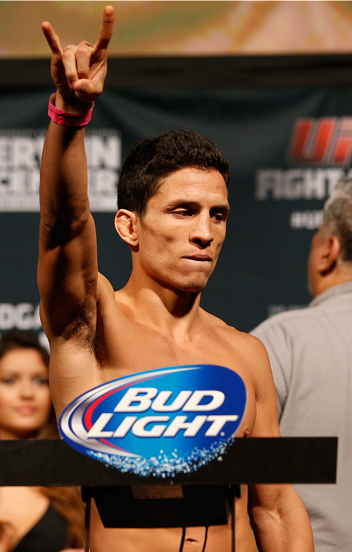 AUSTIN, TX - NOVEMBER 21:  Joseph Benavidez weighs in during the UFC weigh-in at The Frank Erwin Center on November 21, 2014 in Austin, Texas.  (Photo by Josh Hedges/Zuffa LLC/Zuffa LLC via Getty Images)