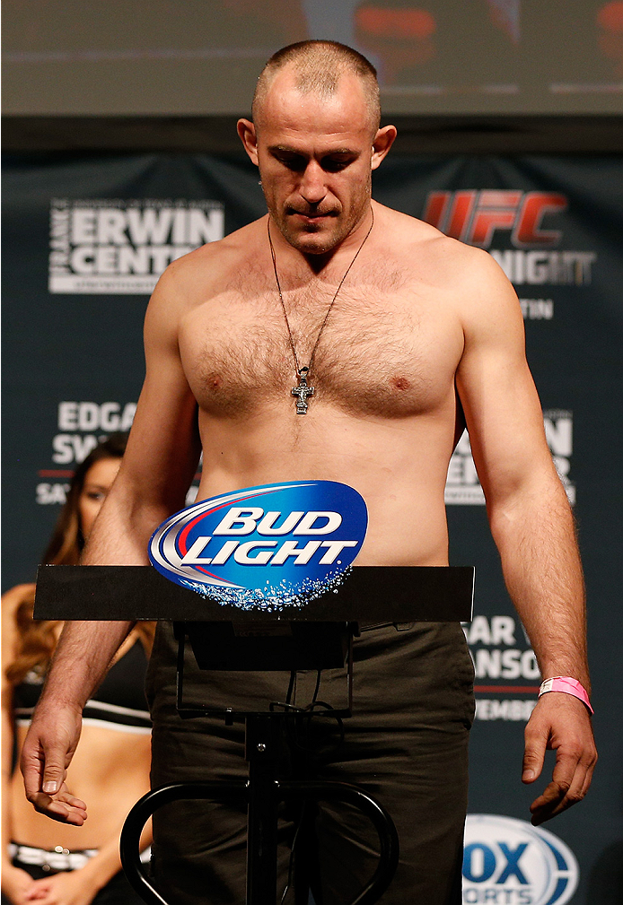 AUSTIN, TX - NOVEMBER 21:  Alexey Oliynyk of Russia weighs in during the UFC weigh-in at The Frank Erwin Center on November 21, 2014 in Austin, Texas.  (Photo by Josh Hedges/Zuffa LLC/Zuffa LLC via Getty Images)