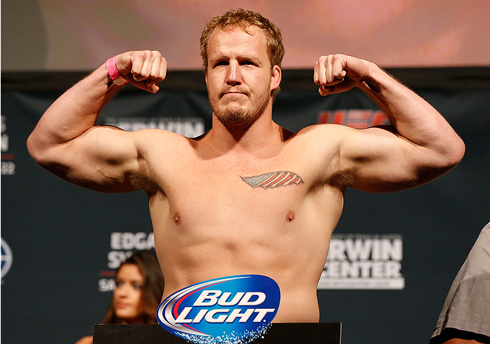 AUSTIN, TX - NOVEMBER 21:  Jared Rosholt weighs in during the UFC weigh-in at The Frank Erwin Center on November 21, 2014 in Austin, Texas.  (Photo by Josh Hedges/Zuffa LLC/Zuffa LLC via Getty Images)