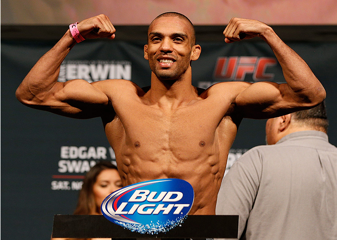 AUSTIN, TX - NOVEMBER 21:  Edson Barboza of Brazil weighs in during the UFC weigh-in at The Frank Erwin Center on November 21, 2014 in Austin, Texas.  (Photo by Josh Hedges/Zuffa LLC/Zuffa LLC via Getty Images)