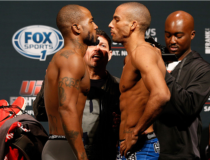 AUSTIN, TX - NOVEMBER 21:  (L-R) Opponents Bobby Green and Edson Barboza of Brazil face off during the UFC weigh-in at The Frank Erwin Center on November 21, 2014 in Austin, Texas.  (Photo by Josh Hedges/Zuffa LLC/Zuffa LLC via Getty Images)