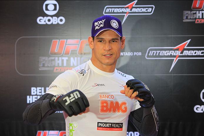 "GOIANIA, BRAZIL - NOVEMBER 7: Cezar ""Mutante""Ferreira attends the UFC Fight Night open workout at Buena Vista Shopping on November 7, 2013 in Goiania, Brazil.  (Photo by Weimer Carvalho/Zuffa LLC/Zuffa LLC via Getty Images)"