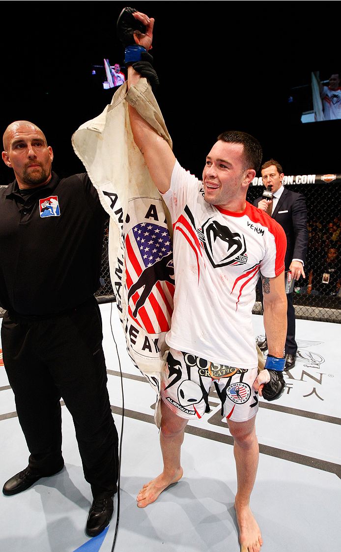 MACAU - AUGUST 23: Colby Covington celebrates after his win over Wang Anying in their welterweight fight during the UFC Fight Night event at the Venetian Macau on August 23, 2014 in Macau. (Photo by Mitch Viquez/Zuffa LLC/Zuffa LLC via Getty Images)