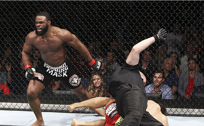 MACAU - AUGUST 23: Tyron Woodley celebrates after his win over Dong Hyun Kim in their welterweight fight during the UFC Fight Night event at the Venetian Macau on August 23, 2014 in Macau. (Photo by Mitch Viquez/Zuffa LLC/Zuffa LLC via Getty Images)