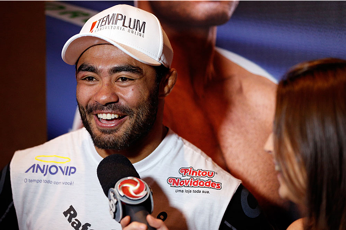 BELO HORIZONTE, BRAZIL - SEPTEMBER 02:  Rafael Natal interacts with media after an open training session for media at the Ouro Minas Palace Hotel on September 2, 2013 in Belo Horizonte, Brazil. (Photo by Josh Hedges/Zuffa LLC/Zuffa LLC via Getty Images)