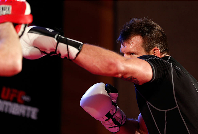 BELO HORIZONTE, BRAZIL - SEPTEMBER 02:  Ryan Bader holds an open training session for media at the Ouro Minas Palace Hotel on September 2, 2013 in Belo Horizonte, Brazil. (Photo by Josh Hedges/Zuffa LLC/Zuffa LLC via Getty Images)