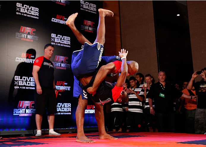 """BELO HORIZONTE, BRAZIL - SEPTEMBER 02:  Ronaldo """"Jacare"""" Souza holds an open training session for media at the Ouro Minas Palace Hotel on September 2, 2013 in Belo Horizonte, Brazil. (Photo by Josh Hedges/Zuffa LLC/Zuffa LLC via Getty Images)"""