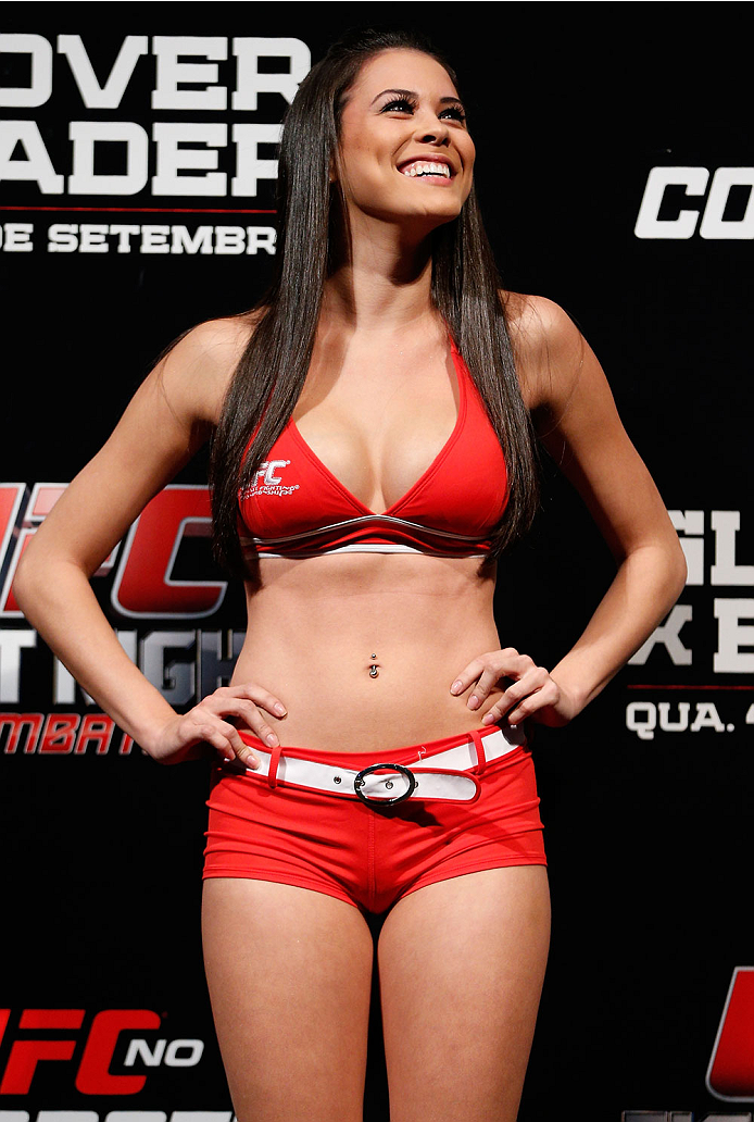 BELO HORIZONTE, BRAZIL - SEPTEMBER 03:  UFC Octagon Girl Camila Rodrigues de Oliveira stands on stage during the UFC weigh-in event at Mineirinho Arena on September 3, 2013 in Belo Horizonte, Brazil. (Photo by Josh Hedges/Zuffa LLC/Zuffa LLC via Getty Ima