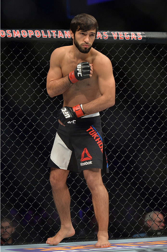 LAS VEGAS, NEVADA - DECEMBER 10:  Zubaira Tukhugov prepares for his fight against Phillipe Nover in their featherweight bout during the UFC Fight Night event at The Chelsea at the Cosmopolitan of Las Vegas on December 10, 2015 in Las Vegas, Nevada.  (Phot