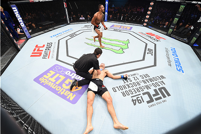 LAS VEGAS, NEVADA - DECEMBER 10:  (Top) Danny Roberts celebrates his win over Nathan Coy in their welterweight bout during the UFC Fight Night event at The Chelsea at the Cosmopolitan of Las Vegas on December 10, 2015 in Las Vegas, Nevada.  (Photo by Jeff