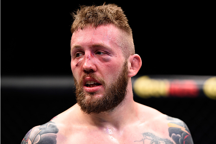 LAS VEGAS, NEVADA - DECEMBER 10:  Andreas Stahl reacts to his loss to Santiago Ponzinibbio in their welterweight bout during the UFC Fight Night event at The Chelsea at the Cosmopolitan of Las Vegas on December 10, 2015 in Las Vegas, Nevada.  (Photo by Je