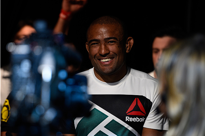 LAS VEGAS, NEVADA - DECEMBER 10:  Sergio Moraes enters the arena in his welterweight bout against Omari Akhmedov during the UFC Fight Night event at The Chelsea at the Cosmopolitan of Las Vegas on December 10, 2015 in Las Vegas, Nevada.  (Photo by Jeff Bo