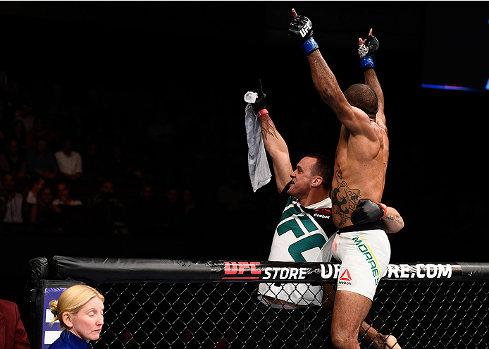 LAS VEGAS, NEVADA - DECEMBER 10:  Sergio Moraes celebrates his win over Omari Akhmedov in their welterweight bout during the UFC Fight Night event at The Chelsea at the Cosmopolitan of Las Vegas on December 10, 2015 in Las Vegas, Nevada.  (Photo by Jeff B